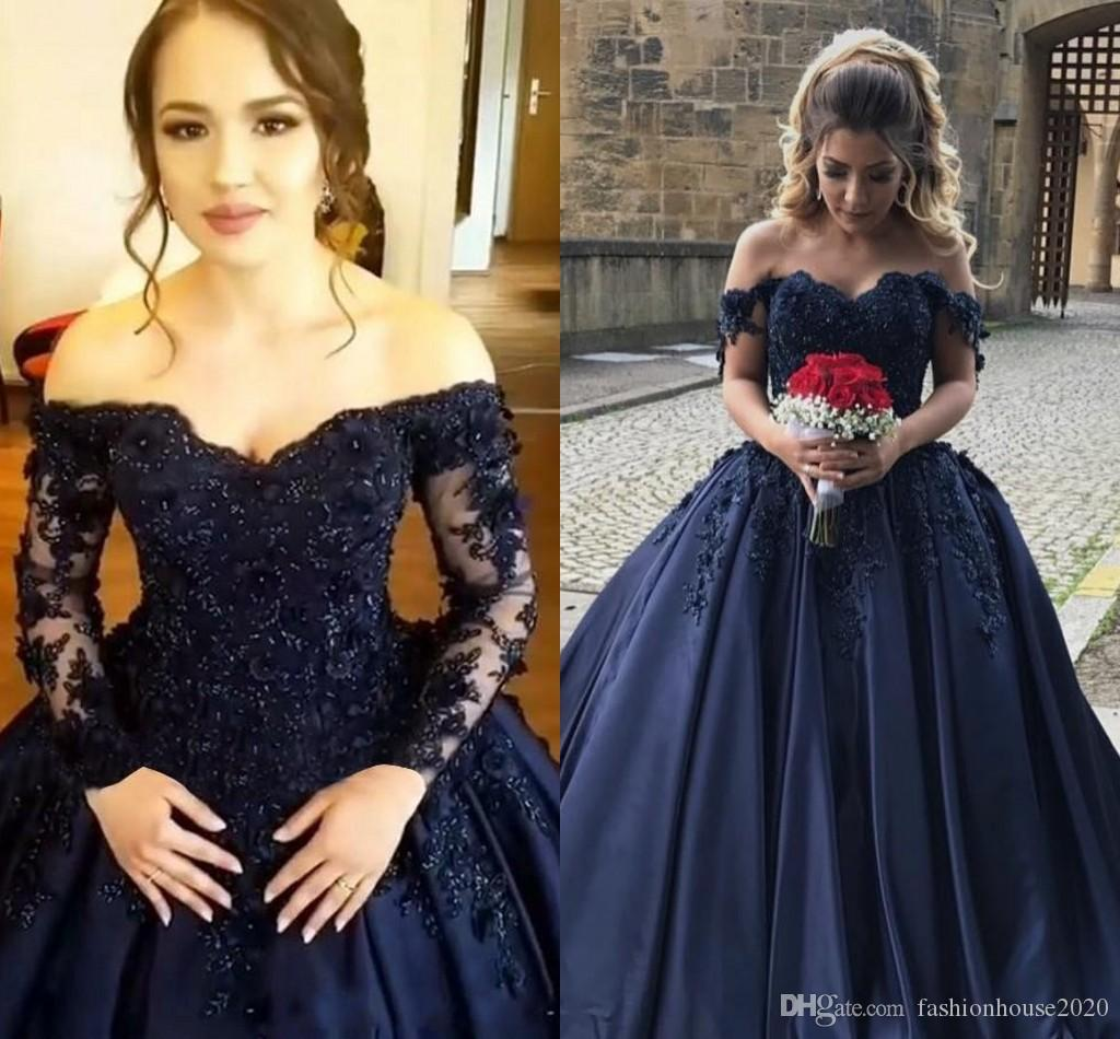 f1d1ab8d1b7 2018 Off Shoulder Dark Navy Quinceanera Dresses Long Sleeves Ball Gown 3d  Flowers Lace Beaded Prom Dresses Satin Corset Back Sweet 16 Dress Create  Your Own ...