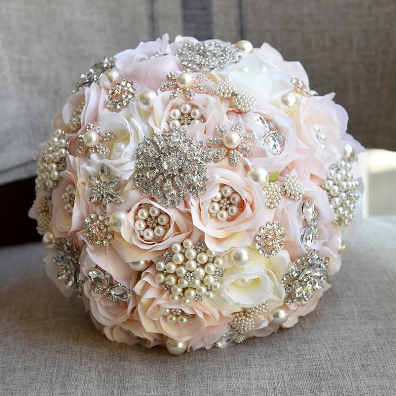 Silk Flowers Wedding Bouquets.Champagne Pink Bridal Bouquet Pearls Rhinestones Crystals Romantic Artificial Flowers Wedding Bouquets With Ribbon Designer 2018