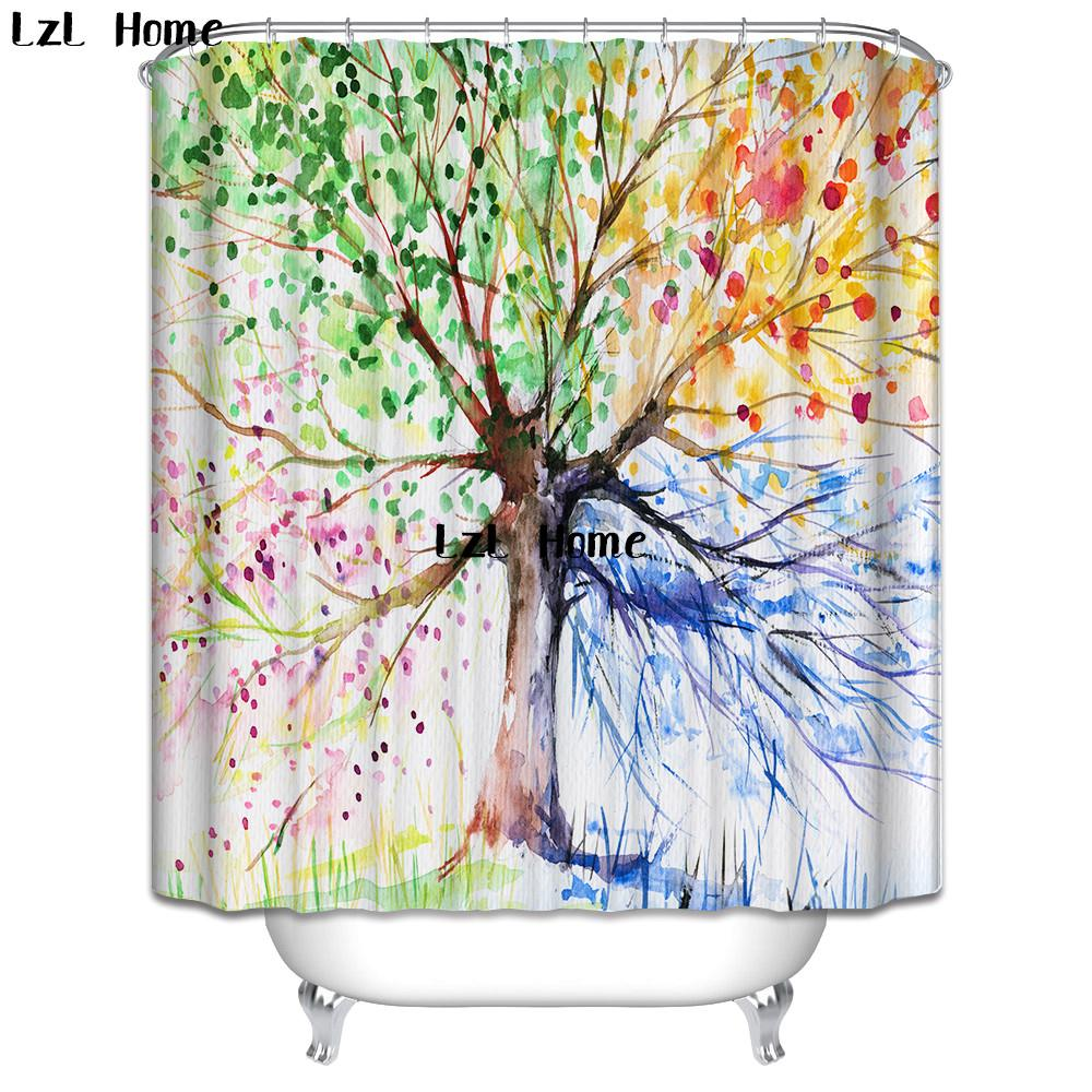 2019 LzL Home Colorful Tree Of Life Shower Curtains Eco Friendly Polyester Fabric Modern Design Print Waterproof Bathroom From Baibuju8