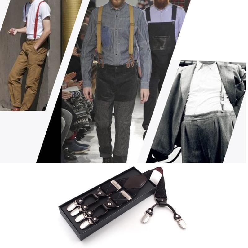 7185a94ba Men Black Plaid Y-Shape Suspender With Non-Slip 6 Clips Elastic ...