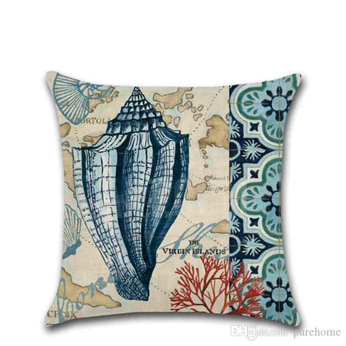 """Mediterran Ocean Style Coral Starfish Seashell Pillowcases Cushion Cover Decorative Pillow Case Home Decor 18""""X18"""" Birthday Party Gifts"""