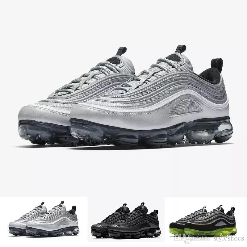 1294bdcf401f With Box Vapor 97 Plus Running Shoes Classic Outdoor Run Shoes Vapor Tn Black  White Sport Shock Sneakers Men Women Requin Olive Silver Walking Shoes Flat  ...