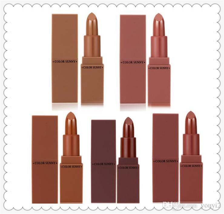 Moda de alta calidad COLOR SUNNY es Lápiz labial mate suave fórmula otoño e invierno serie calabaza color ladrillo rojo color del suelo 0201040