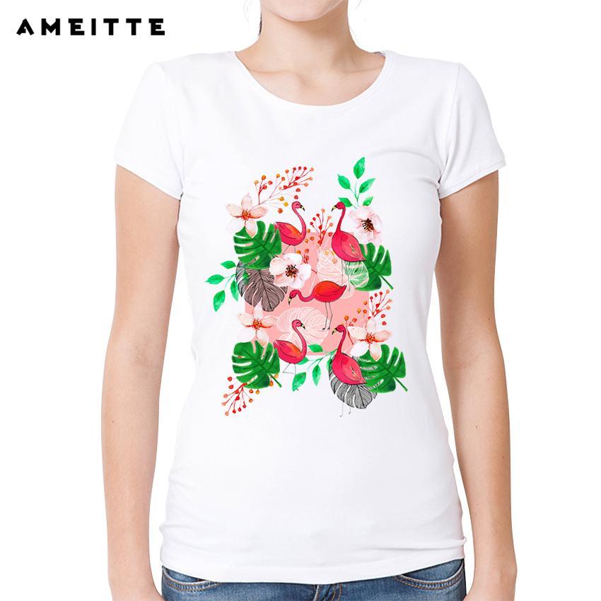 Tops De Geek Tropical Acuarela Camisetas Para Camiseta Flamencos Mujeres Y Verano Harajuku Jardín Estilo Floral Imprimir Blanco LzVjGSUMqp
