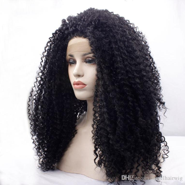 Synthetic Afro Kinky Curly Hair Wigs Synthetic Lace Front Loose Afro Curly Wig for Women Heat Resistant Soft Cosplay Party Wig