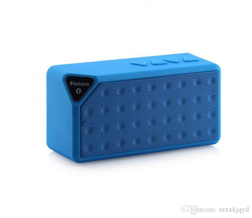 X3 Mini Cubo portátil Inalámbrico Bluetooth Altavoz TF FM Subwoofer Reproductor de MP3 de música bajo con MIC Altavoces Manos libres para iPhone 8 Plus