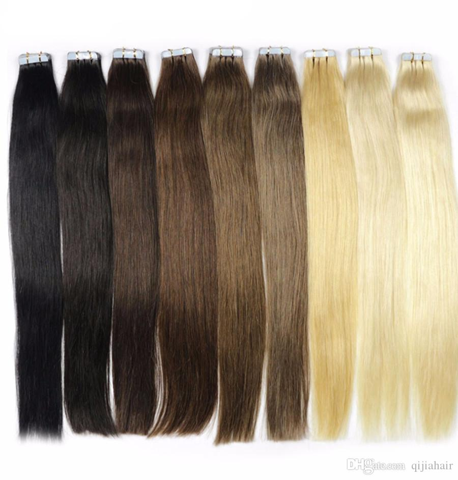 Tape On Skin Weft Hair Extensions Straight 25gpc 100g Skin Weft