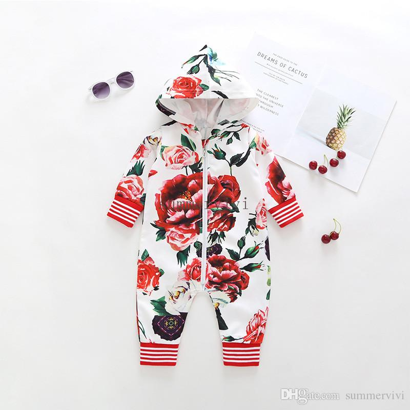 dd465dacb93 INS Baby Girls Romper Autumn Toddler Kids Floral Printed out Wear ...