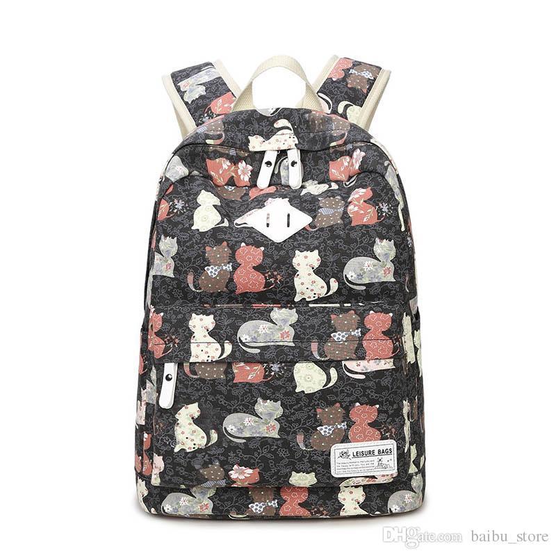 Canvas Backpack Cat Women Bagpack Teenagers Backpacks For Teenage Teen  Girls Bags Youth Feminine Backpack Girl Mochila Feminina Canvas Backpack  Backpacks ... b7be0e744ee16