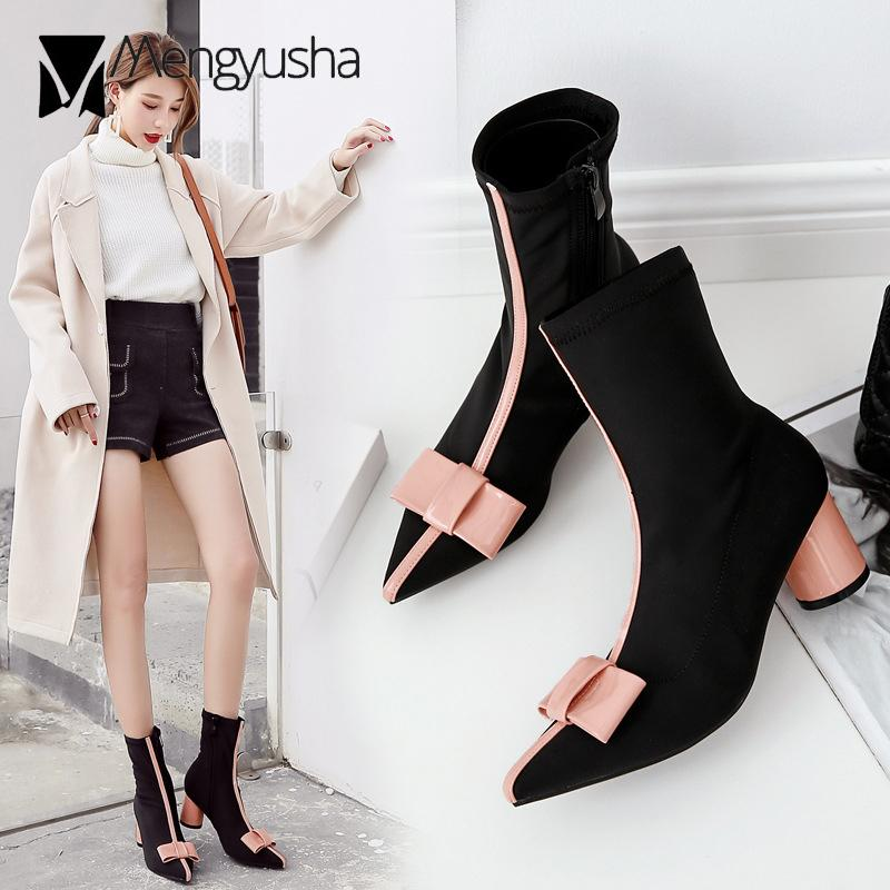 9956b1679d93 Celebrity Brand Round Heels Botas Pointy Toe Japanned Leather Bow Knot  Boots Women Lycra Socks Short Booties Female New Bootie Buy Shoes Online  From Rowback ...