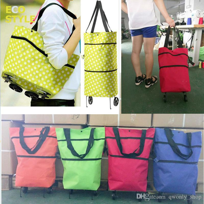 31a772a71d85 Foldable Shopping Trolley Bag Cart Rolling Wheel Grocery Tote Handbag Travel  Folding Grocery Shopping Bag Love Reusable Bags Cheap Wholesale Handbags  From ...