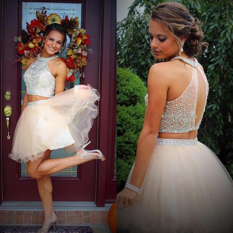 Sexy 2 Due Pezzi Abiti da sposa 2020 perline di cristallo di Tulle breve Prom Dresses Una Parte Linea 18 ° voto di laurea da cocktail abiti USA UK