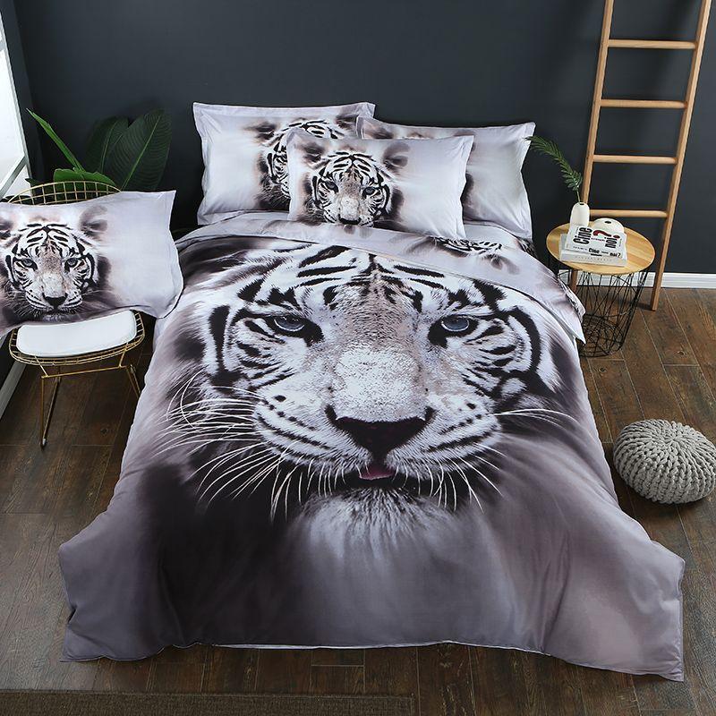 Großhandel 3d White Tiger Pattern Bettbezug Sets Shams Bettwäsche ...