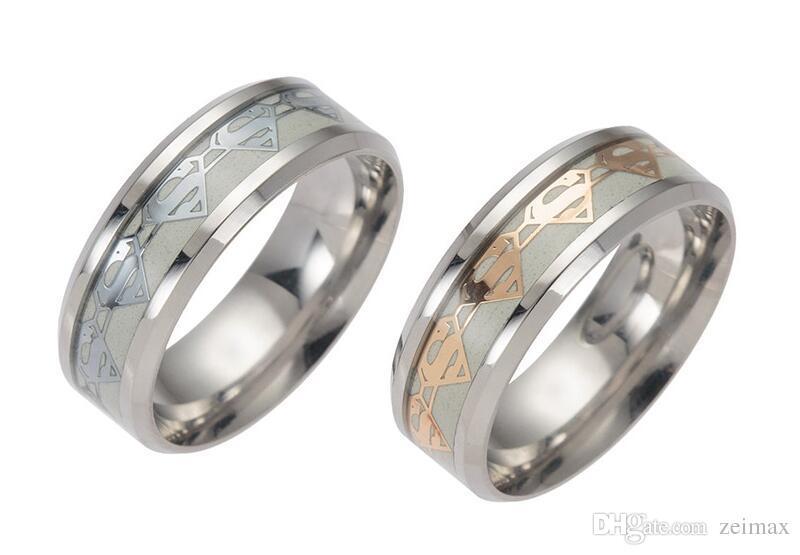 Супермен кольца мужские кольца светящиеся для мужчин черное золото серебро из нержавеющей стали женщины кольца светятся в темноте мужской кольцо ювелирные изделия