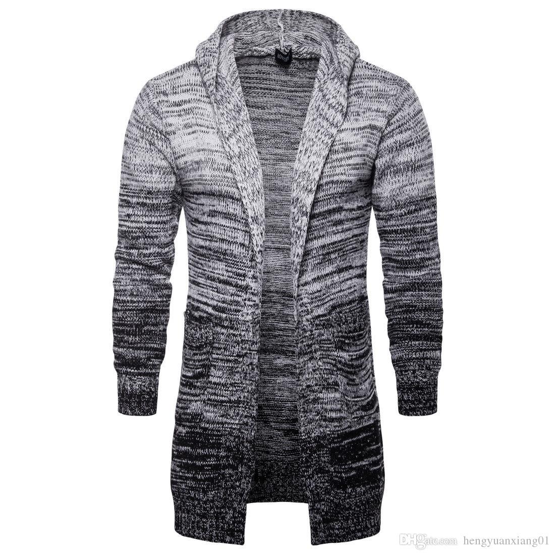 f022596a41300 Compre 2018 Outono Casaco De Lã Com Capuz Masculino, Roupa De Homem,  Camisola De Malha Cinzenta Comprida Europeia E Americana.