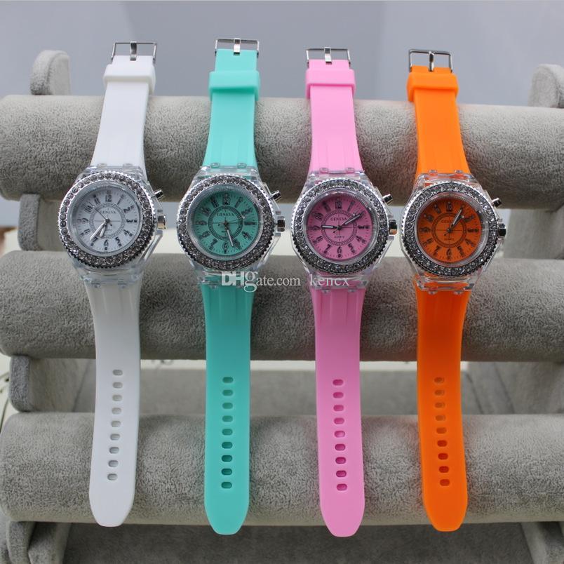 The Unique Design Luminous Watch Women , Fashion Rhinestone LED Watch Women , Outdoor Sports digital watch women