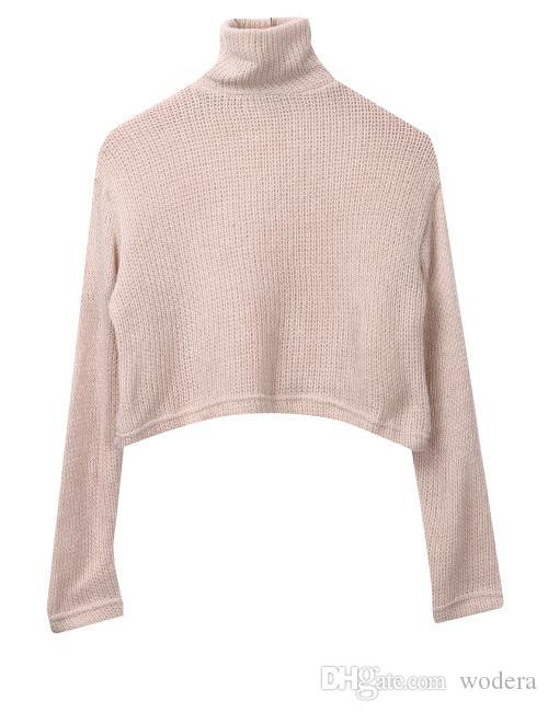 073ab977453b50 2019 Wholesale New Arrival Women Autumn Winter Warm Casual Long Sleeve Knitted  Sweater Hot Sale 2017 Sexy Short Knitted Sweater Crop Tops From Wodera