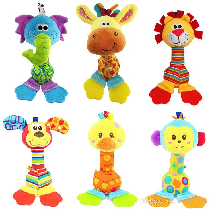 happy monkey 22cm 6 Styles Baby doll Cheerful Rocking stick bibi Sound Teether Soft Gentle Rattle Plush Toy Cute Animals dog