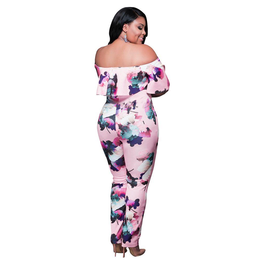 Jumpsuit Womens Elegant Floral Big Plus Size Party Club Overalls Sexy Rompers Womens Jumpsuit L-XXXL Ruffle Off Shoulder