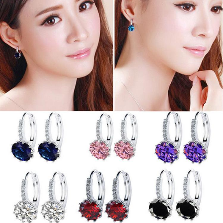Korean version of the new 925 silver plated 18K gold earrings Crystal sunflower of the zircon chain earrings