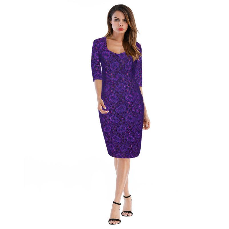 20c4178475f1 Purple Lace Pencil Dress Red Women Embroidery Vestidos Plus Size Sexy  Clothes Kleid Bodycon Elegant Office Ladies Dresses Autumn Light Purple  Dresses For ...