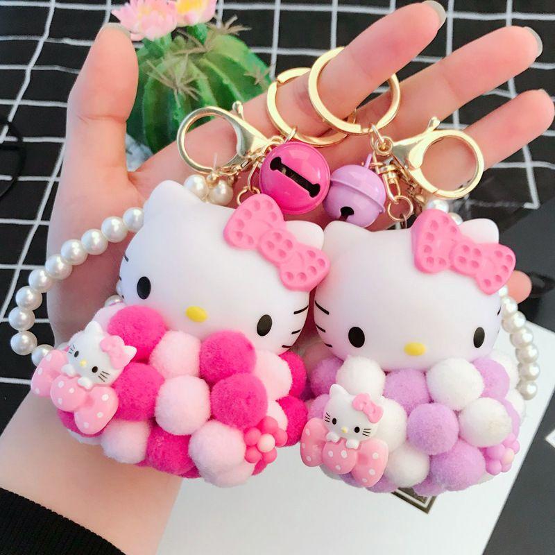 7d8f73957 Cute Hello Kitty KiKi Doll KeychainPompom Small Fur Ball KT Key Chain Car  Keyring Women Key Holder Bag Charm Jewelry Pendant Plastic Key Tags Keychain  ...
