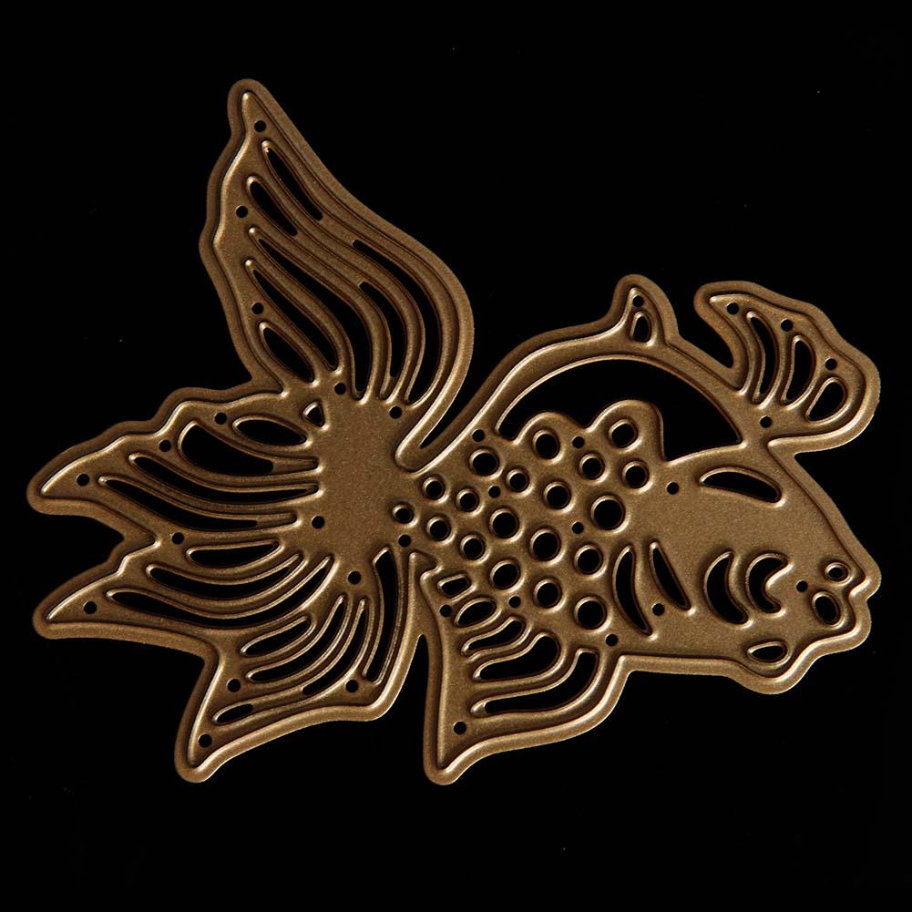 Gold Hollow Fish Stencil Cutting Dies for DIY Scrapbooking Photo Album Decoration Paper Card Cutter Embossing Template