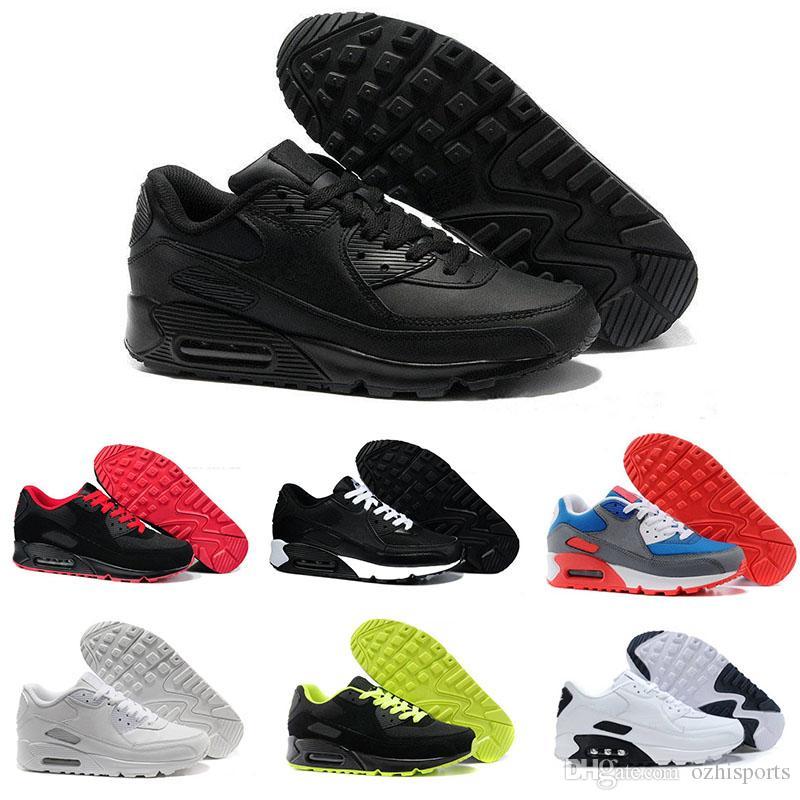 online store b5a20 3c645 Großhandel 2018 Heißer Verkauf Herren Und Damen Schuhe Klassische Nike Air  Max 90 Kpu Casual Outdoor Walking Schuhe Schwarz Rot Weiß Kissen Oberfläche  ...