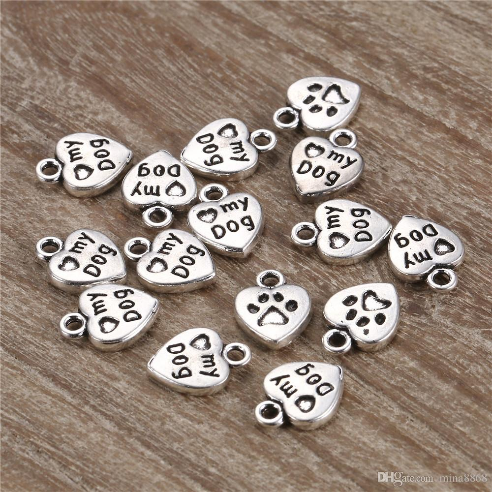 """10*13mm antique silver retro engraved """"my dog"""" heart charm for jewelry handmade jewelry Accessories wholesale"""