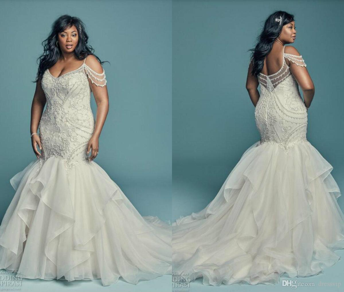 African Plus Size Wedding Dresses Off The Shoulder Sleeveless Lace ...