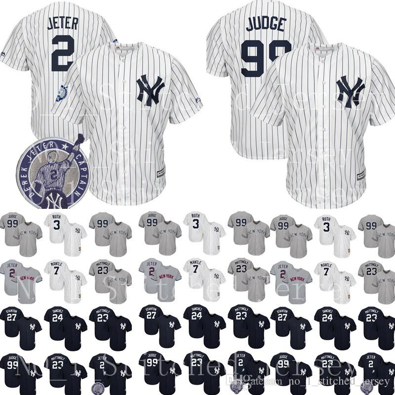 2018 99 Aaron Judge 2 New York Jersey White Grey Deep Blue 27 42 Mariano  Rivera 51 Bernie Williams 23 Don Mattingly Baseball Jerseys From ... 67163c7963b