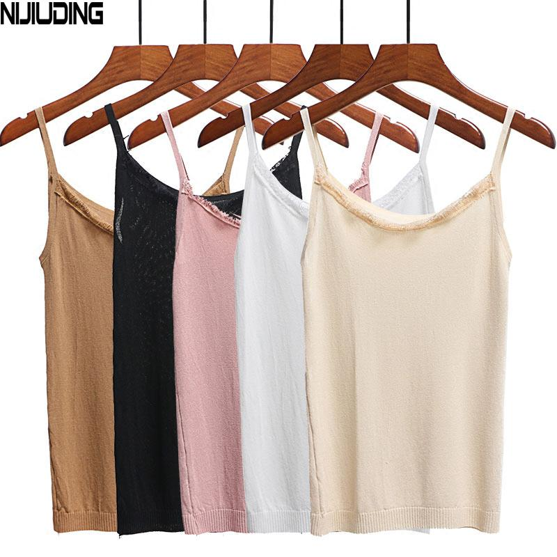 84022d3e181d2f NIJIUDING Women Ice Silk Camis 100% Natural Silk And Lace Camisoles ...