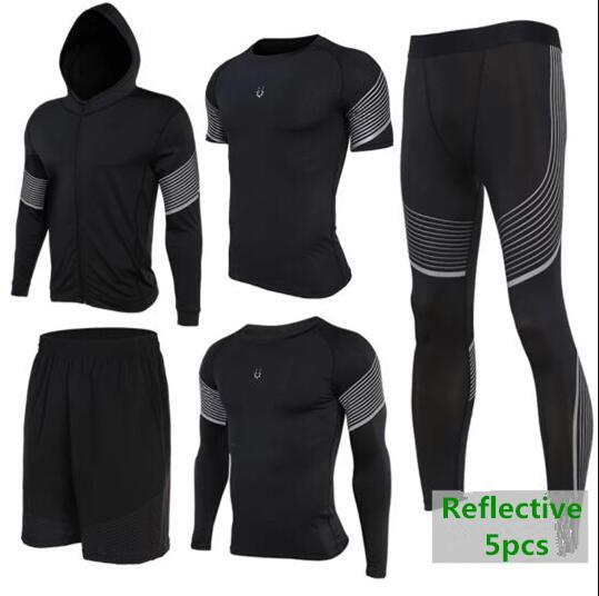 d2818b110dae7 2018 Sports Suit Men s Quick Dry Running Set Compression Fitness Tights  Basketball Training Gym Jogging Suit Sportswear Trainning   Exercise Sets  Cheap ...