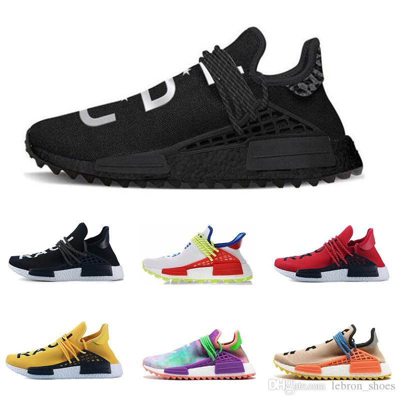 cheap for discount ed310 0c221 Compre Adidas NMD Human Race Venta Al Por Mayor De La Raza Humana  Zapatillas Nerd Negro Lienzo En Blanco Pharrell Williams Para Hombre  Entrenador Zapatillas ...