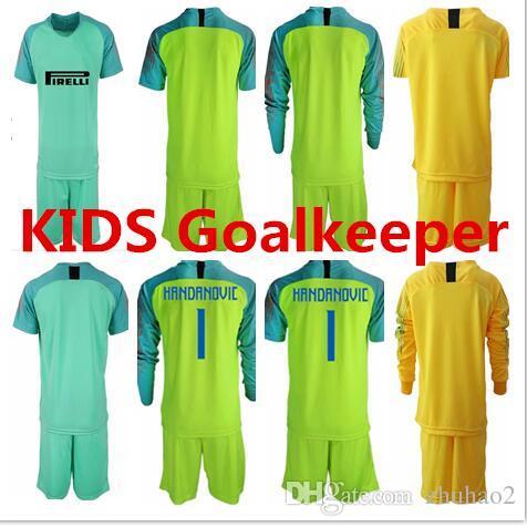 8a8ec213c46 2019 2018 Soccer Jersey Goalkeeper Kit KIDS  1 HANDANOVIC Shirt Long Sleeve  Goalie Uniforms ICARDI LAUTARO Football Kit For KIDS Customized Name From  ...