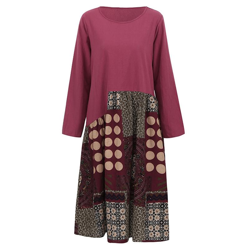 54fd84d488d3d XXXL 4XL 5XL Plus Size Womens Clothing Vintage Women Cotton Dress Ethnic  Print Splicing O Neck Long Sleeve Casual Loose Dress Cute Red Party Dresses  ...
