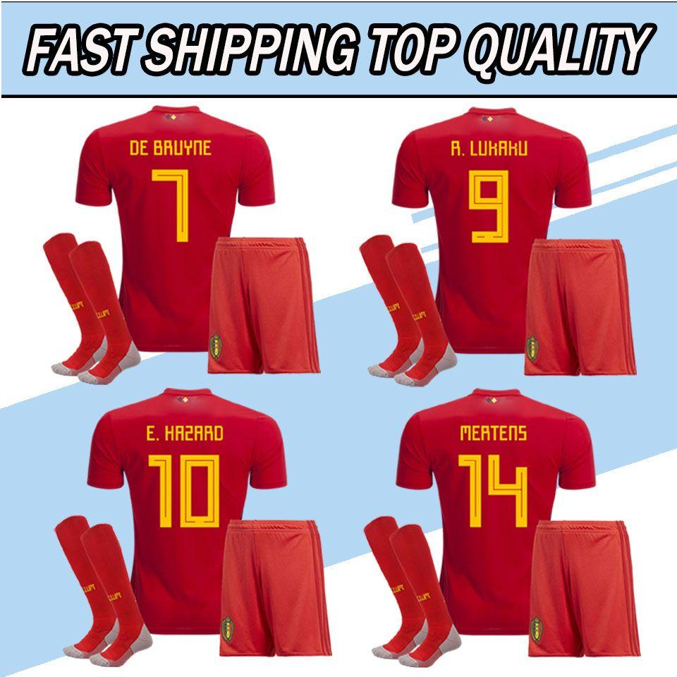 2018 New 2018 World Cup Belgium Soccer Jersey And Socks Home Red Football  Kits 18 19 Lukaku Fellaini E.Hazard Kompany De Bruyne Uniforms Football  From ... 7935a9700