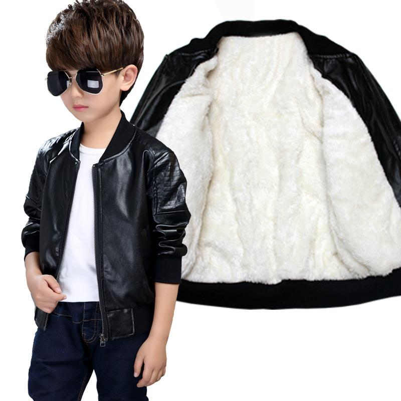 Boys Coats Autumn Winter PU Leather Jacket Children's Plus Velvet Warming Cotton Outerwear Baby Boys Thin jacket Kids Clothing