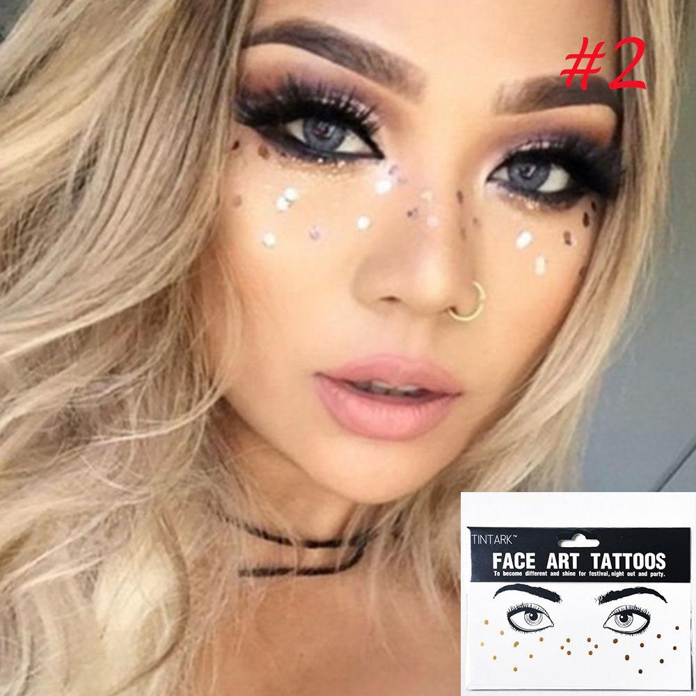 d2a8ff648 Fashion New Arrival Disposable Gold Face Tattoo Stickers Waterproof  Bronzing Beauty Freckles Makeup Flash Body Art Sticker Temporary Tattoos  Paper Airbrush ...