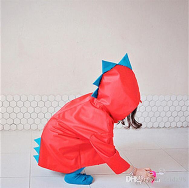 Cute Small Dinosaur Waterproof Polyester Rain Coat Boy Children Girls Windproof Poncho Kindergarten Student Baby Raincoat GA298