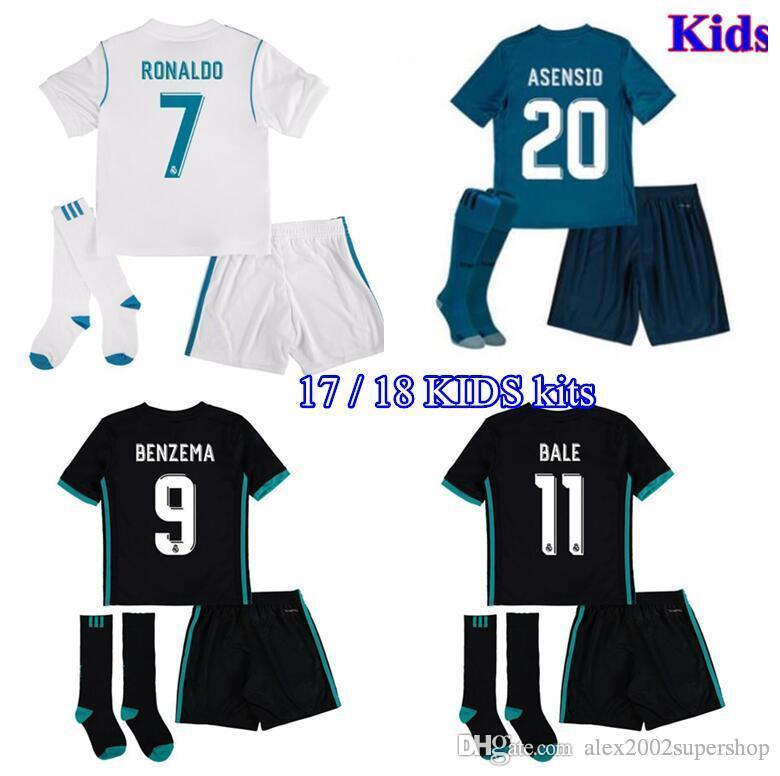 34dfb95f6 2019 17 18 Kits Real Madrid Kids Boys Jersey Home Away Black 3rd ...