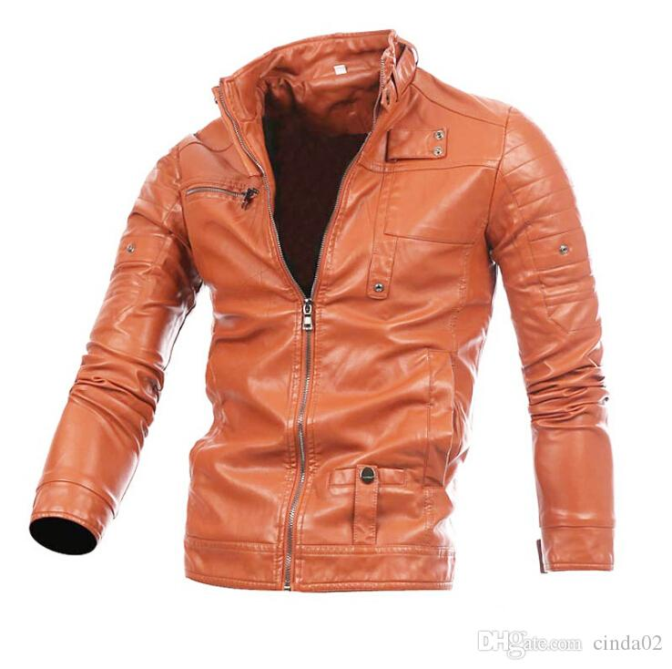 Motor Biker Stand Collar Leather Jacket Winter Spring Fashion Jacket Brand Out Coat For Man