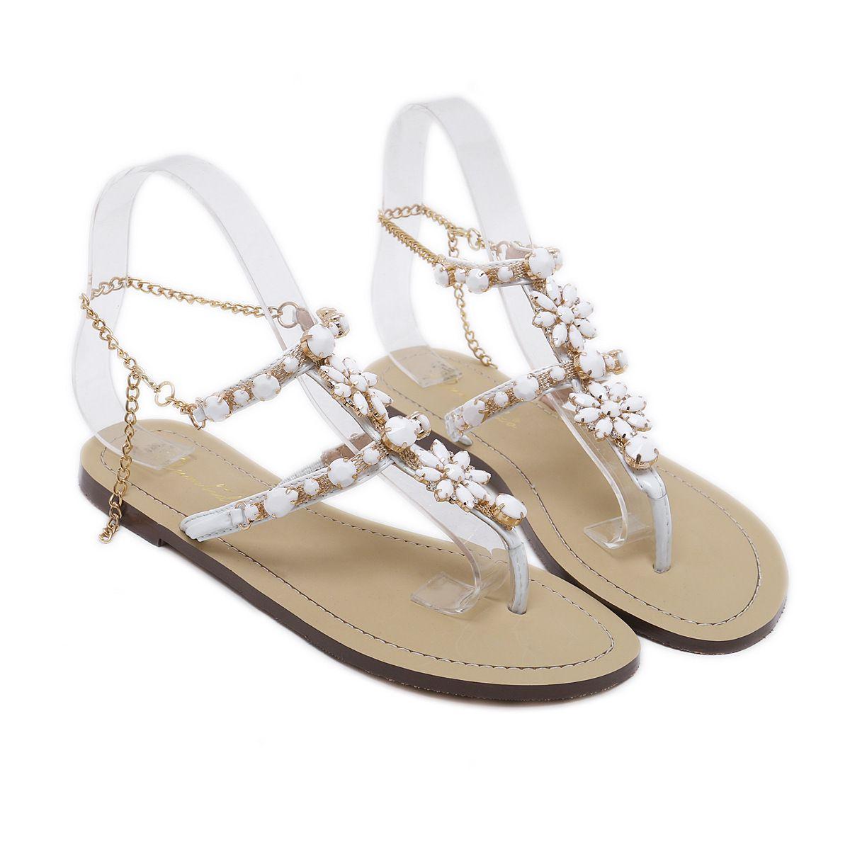 Stunning Bling Bling Woman Sandals Women Shoes Rhinestones Chains Thong Gladiator Flat Sandals Crystal Chaussure Plus Size 46 Tenis Feminino