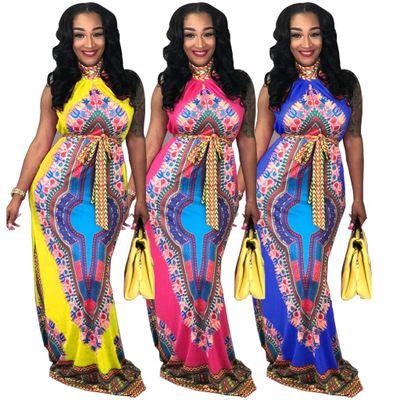 bc82b67f4b6 Dresses African Print Dress Sleeveless Maxi Dresses Off Shoulder Elegant  Long Dress Round Collar Totem Casual Dresses Vestidos YFA181 Womens Dresses  Red ...