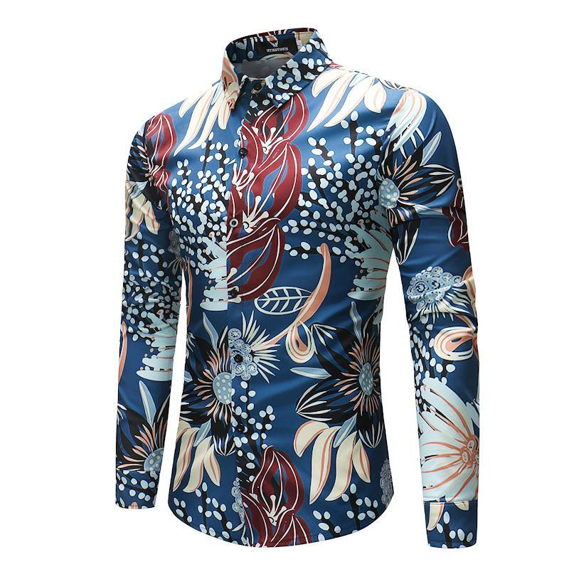cdf8ff328a34 2019 Fashion Floral Hawaiian Shirt Men Slim Fit Long Sleeve Dress Shirt  2018 Spring Autumn Casual Brand Shirts Male Chemise Homme 4XL D18102901  From Tai002