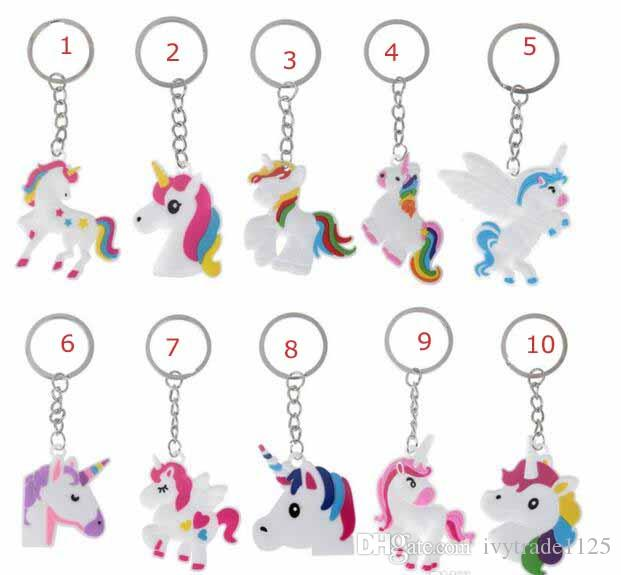 11 style Unicorn bag Key ring Multi Color Rainbow Unicorn Mini Key ring Bag Key chain pendant jewelry kids gift decoration accessories