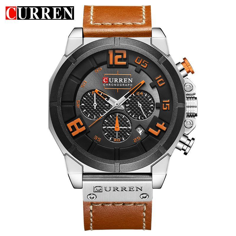 3f139e5c5962 Compre Relojes De Cuarzo De Cuero De La Manera De Los Hombres De Deporte  Hombres Cronógrafo Fecha De 24 Horas Marca Superior 8287 Reloj De Pulsera  Relogio ...