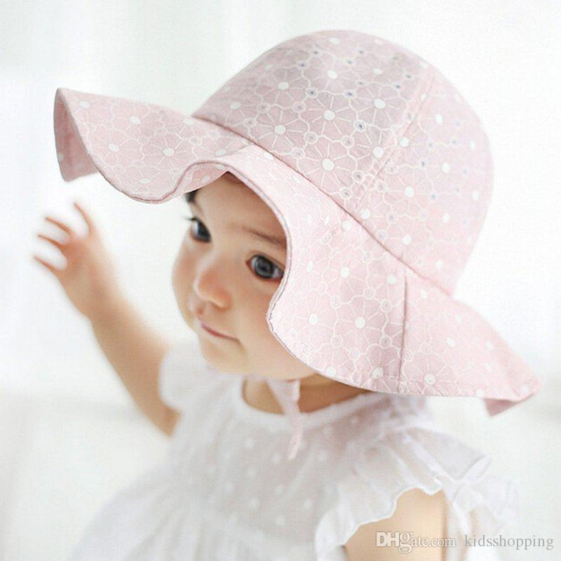 290e6805c37 NEW Baby Summer Outdoor Bucket Hat Children Floral Print Panama Cap Sun  Beach Cap Lovely Lace Princess Baby Girl Brim Sun Hats Accessories Caps   Hats  Sun ...