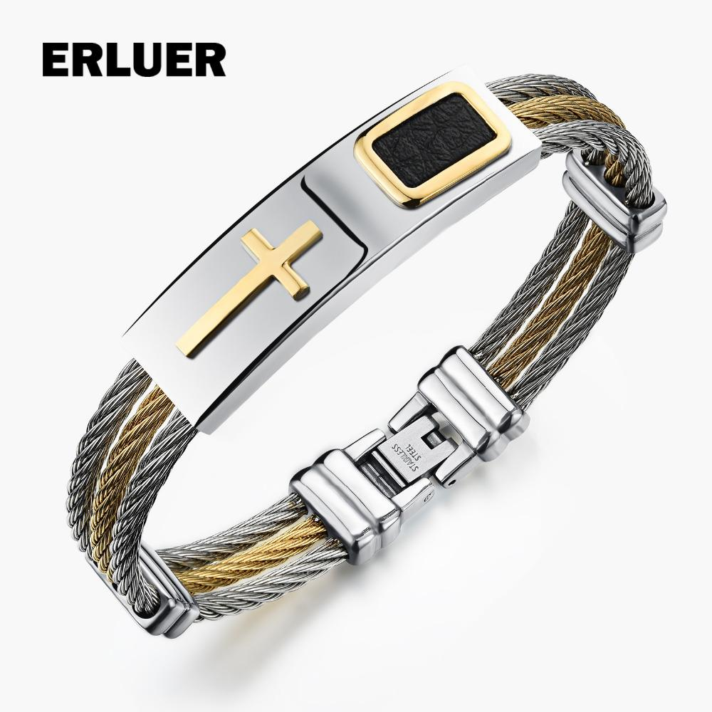 2018 Erluer Men\'S Bracelet 3 Rows Wire Chain Bracelets Bangles Punk ...