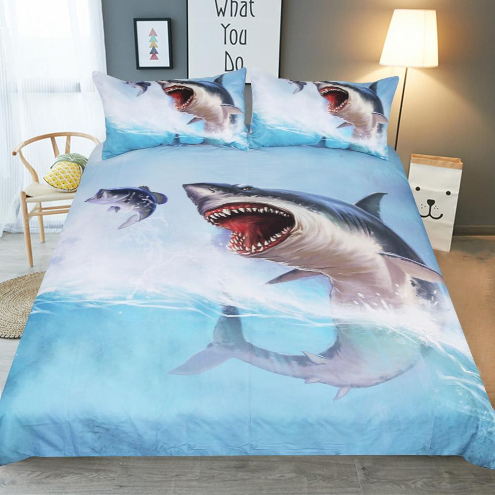 fcb4cd8e665 Fashion Boy Children Bedroom Bedding Set Soft Pillowcase USA AU Queen Twin  Full King Size Print Blue Shark Duvet Cover Set Comforter Sets Queen On Sale  Full ...